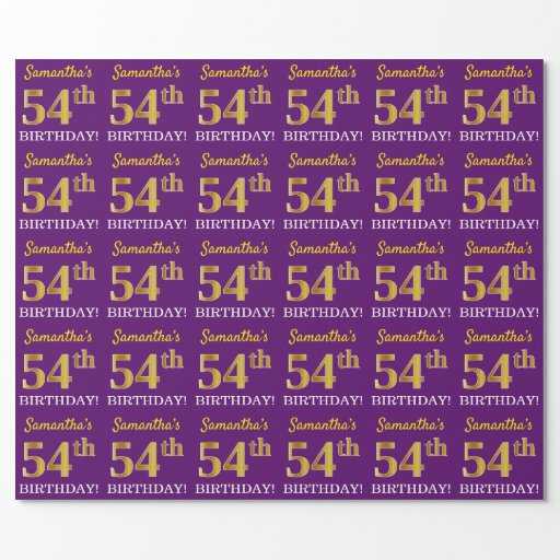 """Purple, Imitation Gold Look """"54th BIRTHDAY"""" Wrapping Paper"""
