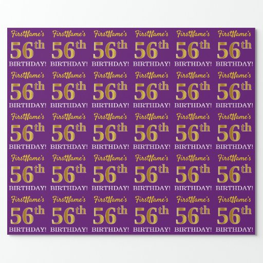"""Purple, Imitation Gold Look """"56th BIRTHDAY"""" Wrapping Paper"""