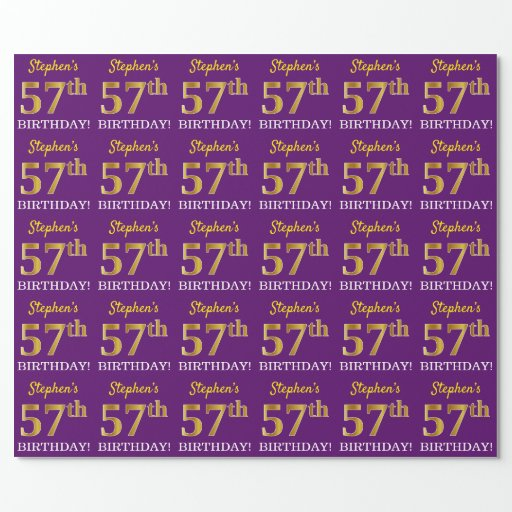 """Purple, Imitation Gold Look """"57th BIRTHDAY"""" Wrapping Paper"""