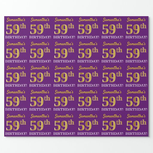 """Purple, Imitation Gold Look """"59th BIRTHDAY"""" Wrapping Paper"""