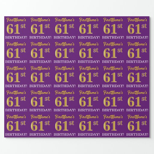 """Purple, Imitation Gold Look """"61st BIRTHDAY"""" Wrapping Paper"""