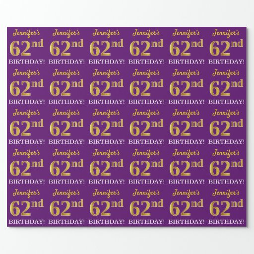 """Purple, Imitation Gold Look """"62nd BIRTHDAY"""" Wrapping Paper"""