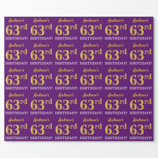 """Purple, Imitation Gold Look """"63rd BIRTHDAY"""" Wrapping Paper"""