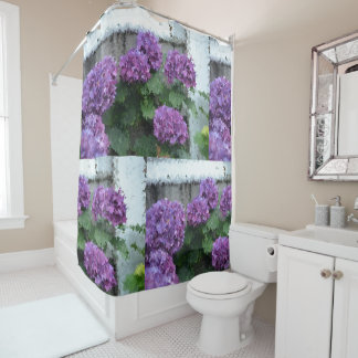 Purple Impressionistic Hydrangeas Shower Curtain