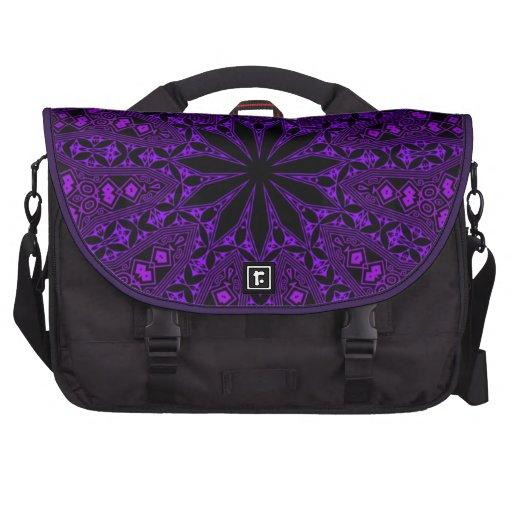 purple indian mehndi mandala pattern bags for laptop