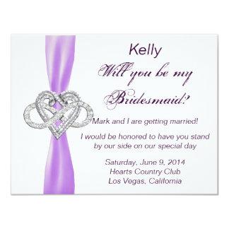 Purple Infinity Heart Bridesmaid Card