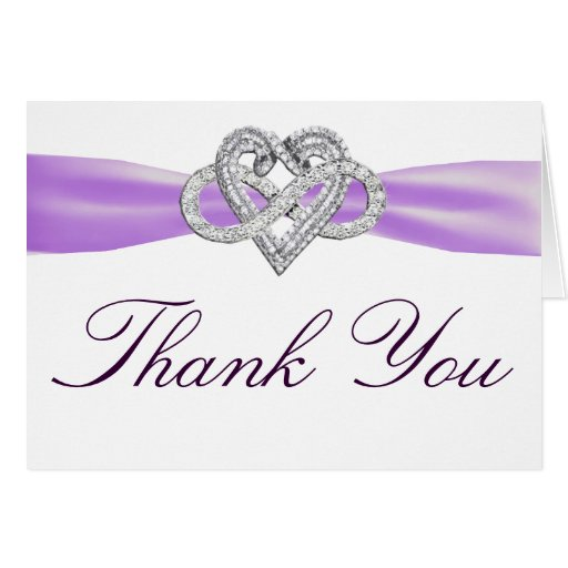 Purple Infinity Heart Thank You Card