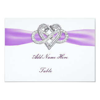 "Purple Infinity Heart Wedding Table Place Card 3.5"" X 5"" Invitation Card"