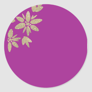 Purple invitation with gold sparkle flowers round sticker