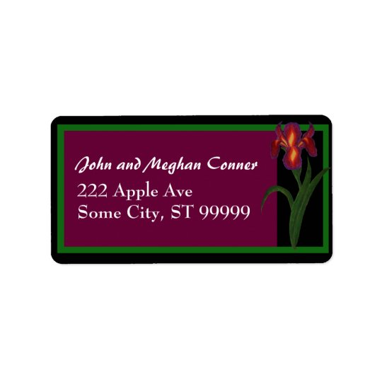 Purple Iris Address Lable Label
