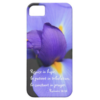 Purple Iris, Bible Verse about Hope, Romans 12:12 iPhone 5 Covers