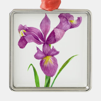 Purple Iris Botanical Floral Art Christmas Ornament