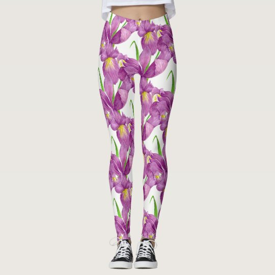 Purple Iris Botanical Floral Art Leggings
