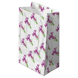 Purple Iris Botanical Floral Art Small Gift Bag