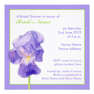 Purple Iris Bridal Shower Invitation