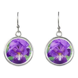 Purple Iris Earrings