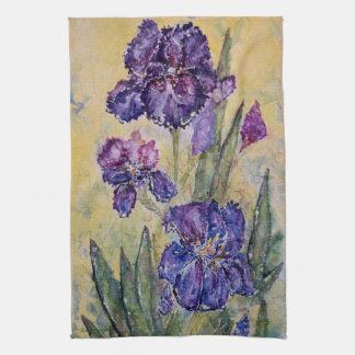 Purple Iris Floral Art Kitchen Towel Set