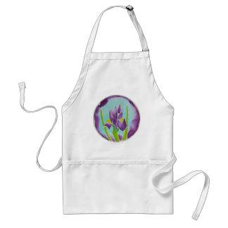 Purple Iris Flower Batik Art Adult Apron