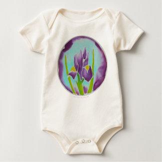 Purple Iris Flower Batik Art Baby Bodysuit