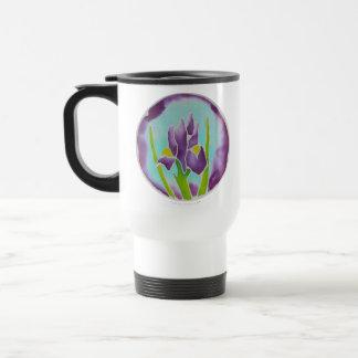 Purple Iris Flower Batik Art Stainless Steel Travel Mug