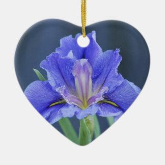 Purple Iris flower Ceramic Heart Decoration