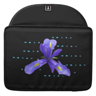 Purple Iris Flower on Black Laptop Sleeve MacBook Pro Sleeve