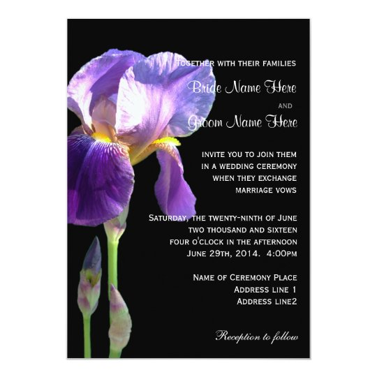 Purple iris flower wedding invitation