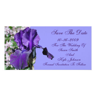 Purple Iris Flower Wedding Save The Date Picture Card