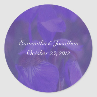 Purple Iris Flower Wedding Sticker