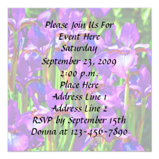 Purple Iris Flowers Invitation