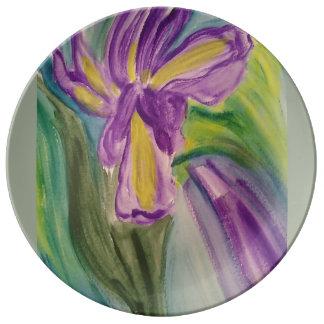Purple Iris in watercolours Plate