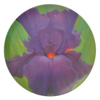 Purple Iris Melamine Plate