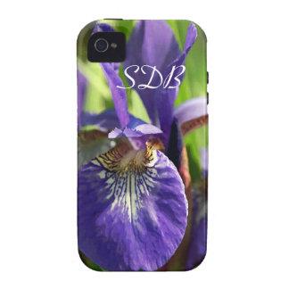 Purple Iris Monogram Tough iPhone 4 Case