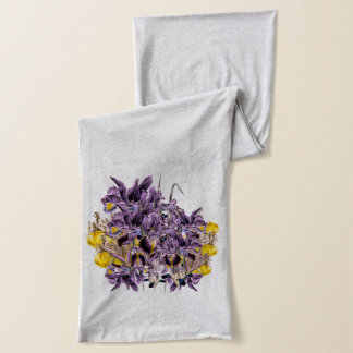 Purple Iris On Grey Neck Scarf