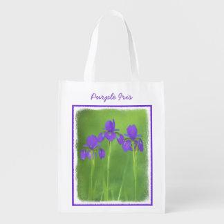 Purple Iris Painting - Original Flower Art Reusable Grocery Bag
