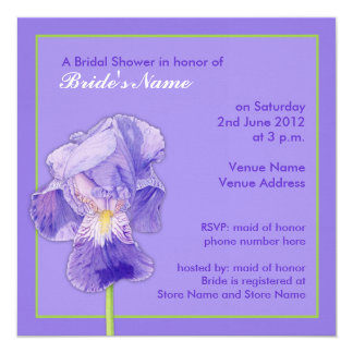 Purple Iris purple Bridal Shower Invitation