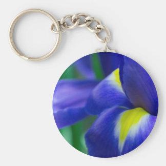 Purple Iris Round Keychain