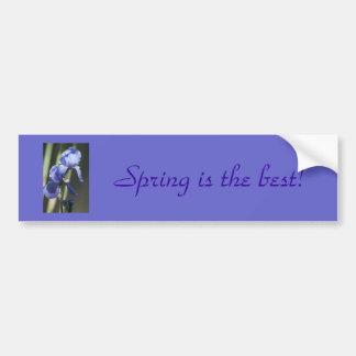 """Purple Iris """"Spring is Best"""" Bumper Sticker"""