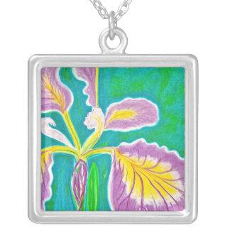 Purple Iris Squared Custom Necklace