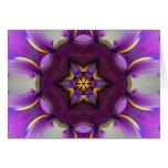 Purple Iris Star Mandala Greeting Card