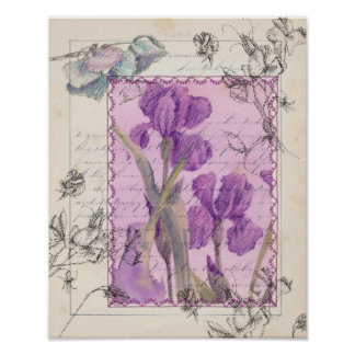 Purple Iris Sweet Pea Watercolor Flowers Collage Poster