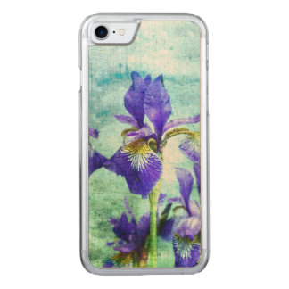 Purple Iris Watercolor Carved iPhone 7 Case