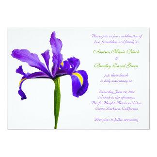 "Purple Iris Wedding Invitation 5"" X 7"" Invitation Card"