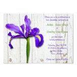 Purple Iris Whitewashed Wood Wedding Invitation 13cm X 18cm Invitation Card