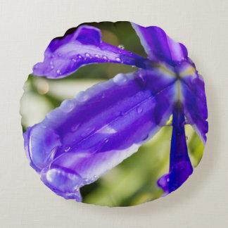 Purple Iris with Raindrops Round Cushion