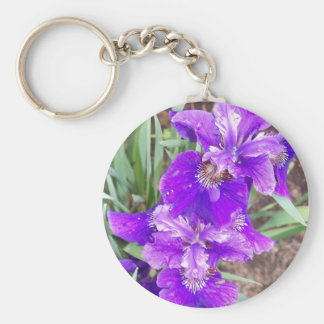 Purple Iris with Water Droplets Keychain