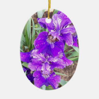 Purple Iris with Water Droplets Ornament