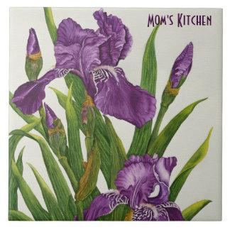 Purple Irises - Customizable Tile