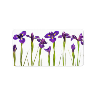 Purple Irises - Iris Flower Customized Template Address Label
