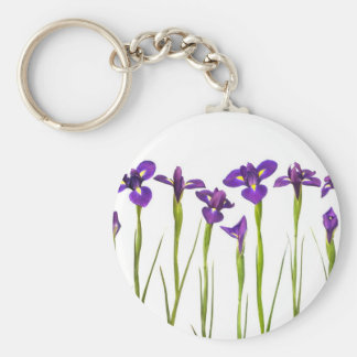 Purple Irises - Iris Flower Customized Template Basic Round Button Key Ring